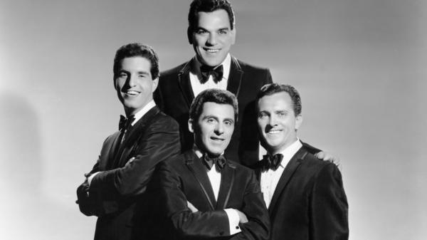 The Four Seasons pose for a portrait circa 1963 in New York City. They are, clockwise from the top, Nick Massi, Tommy DeVito, Frankie Valli and Bob Gaudio.