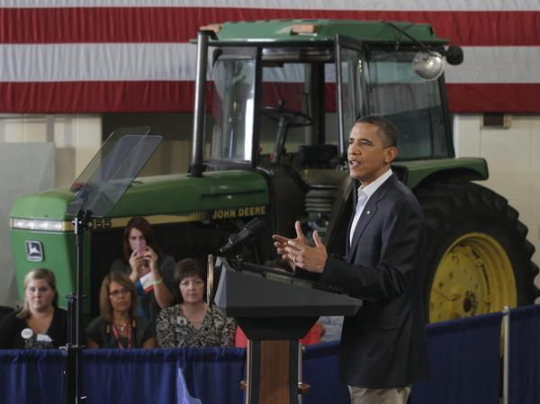 President Obama speaks at a rural economic forum in Peosta, Iowa, during his three-day economic bus tour on Aug. 16, 2011.