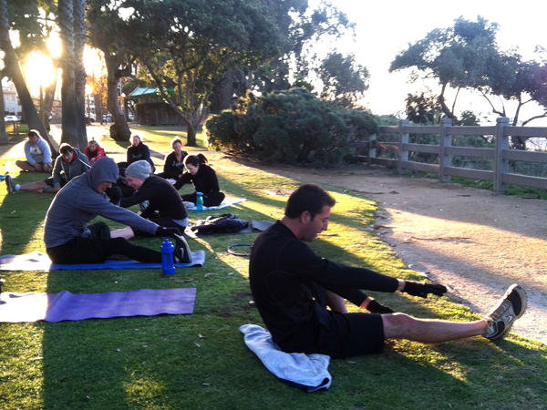 Boot camp participants at an early morning class in Palisades Park in Santa Monica, Calif.