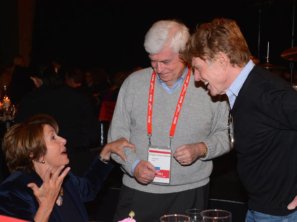 Sundance Film Festival founder Robert Redford speaks with House Minority Leader Nancy Pelosi and former Sen. Chris Dodd, chairman and CEO of the Motion Picture Association of America, at an event at the festival in Park City, Utah.