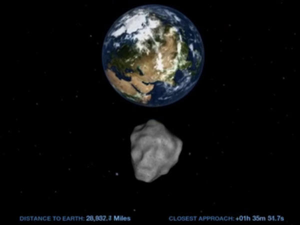 "This computer image from a <a href=""http://www.nasa.gov/topics/solarsystem/features/asteroidflyby.html"">NASA video</a> shows the small asteroid 2012 DA14 on its path as it passes by Earth on Feb. 15."