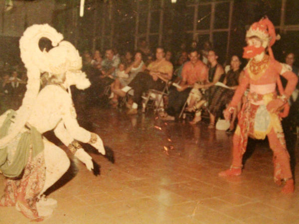 Sullivan (left) dancing Hanuman, the white monkey role in a Javanese dance performance in Jakarta in about 1970.