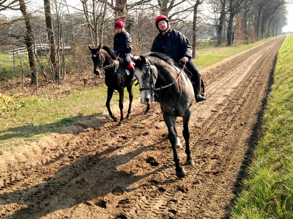 Rarick rides on practice tracks at Maison Lafitte, the lush horse country west of Paris where she trains.