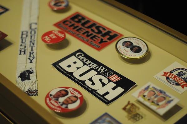Memorabilia recounts Bush's two campaigns for president.