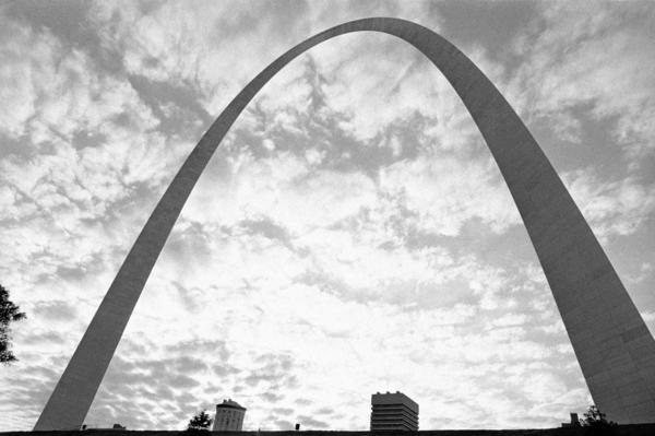 The Gateway Arch was completed on Oct. 28, 1965. It is pictured above in 1976.