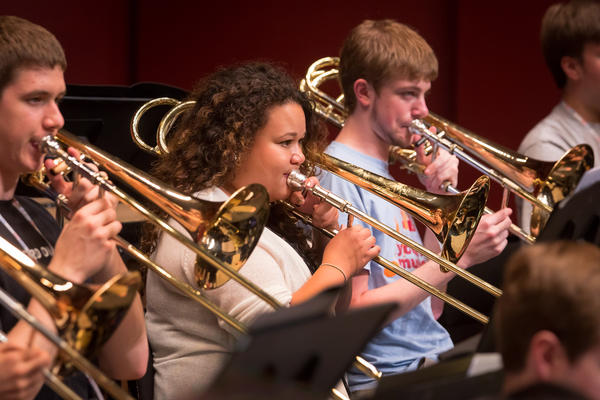 """The first rehearsal, I was speechless,"" says trombonist Skye Dearborn (center)."
