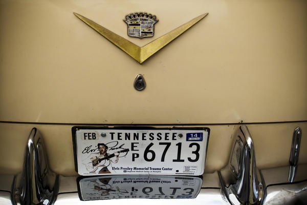 Pierson's '55 Cadillac tends to draw attention as he travels Memphis streets, adorned with a King of Rock 'n' Roll vanity plate.