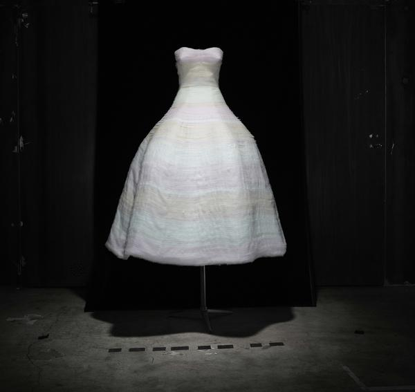 White organza dress embroidered with bands of degrade pale pink chiffon. Autumn-Winter 2012 Haute Couture collection. Christian Dior by Raf Simons.