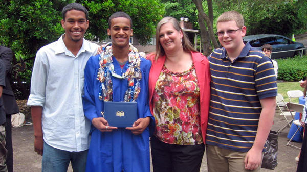 """Wilma Stordahl with her sons (from left) Kevin, Kazon and Kenneth at Kazon's high school graduation. """"We think of Norwegians as being tall and blond and blue-eyed,"""" Stordahl says. """"My sons are tall — but they're not blond and blue-eyed."""""""
