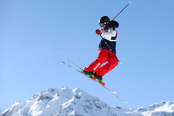 "Devin Logan practices during a ski slopestyle training session in Sochi on Friday. She says she doesn't stress about competing, even on a course that some have called dangerous. ""What we do is scary in general,"" she says. ""But we know how to do it."""