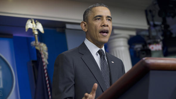 President Obama speaks in the James Brady Press Briefing Room of the White House in November 2013, shortly after the Senate voted 52-48 to weaken the power of the filibuster.