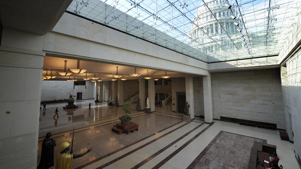 The Capitol Dome is visible through the skylights of the new Capitol Visitor Center.