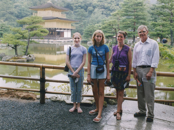 Theo Balcomb (left), her cousin Rose Sanborn, her aunt Kate Sanborn and her dad, Scott Balcomb, during their visit to Japan in 2001.