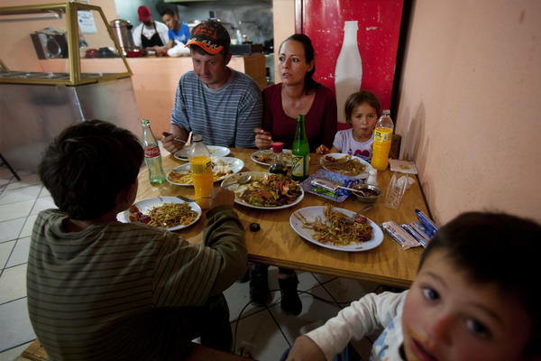 "The Ball family eats at Miguel Angel Luna's Chinese restaurant ""El Pandita Asiatico Express,"" in Palomas, Mexico."