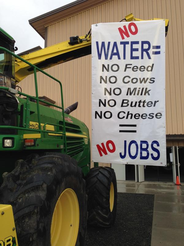 A sign outside a rally in Fresno County, Calif.