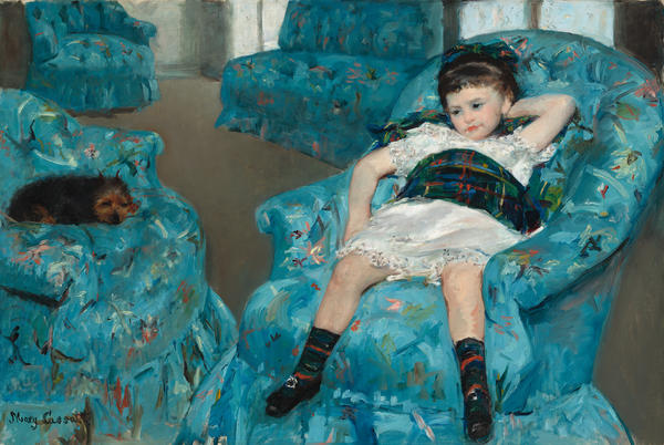 In a letter, Mary Cassatt describes working on <em>Little Girl in a Blue Armchair</em> (1878) with Edward Degas. An X-ray of the painting reveals brush strokes unlike Cassatt's regular strokes.