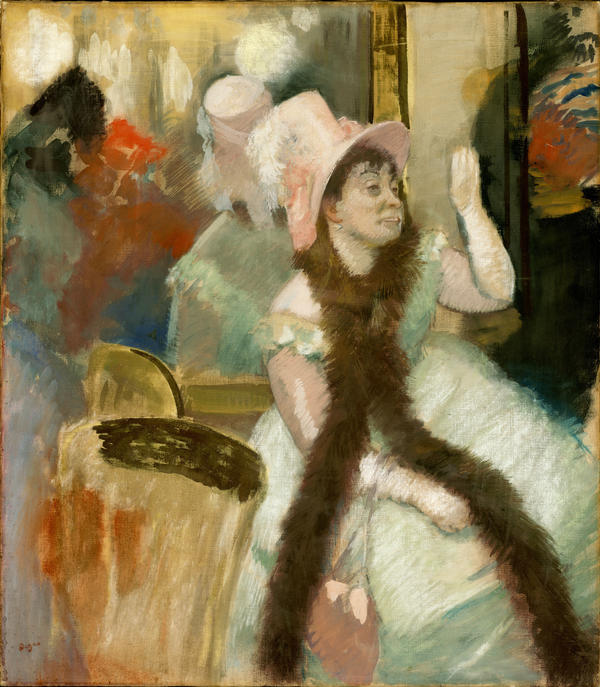 It's possible that Cassatt's use of unconventional materials inspired Degas' textured surface on <em>Portrait after a Costume Ball</em> (1879).