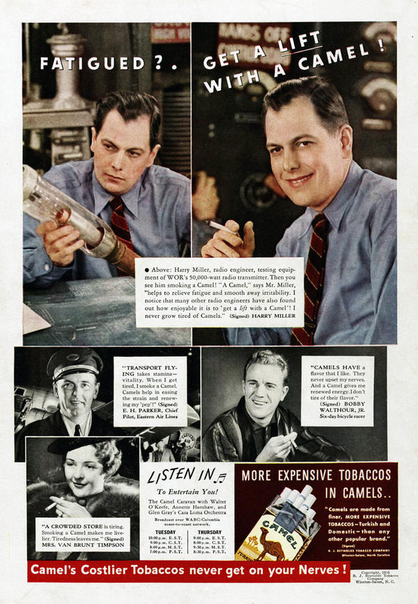 Camel used the confessions of working smokers to show that cigarettes provide a boost during a tiring workday. In this ad, a radio engineer is downcast until a cigarette brings a smile to his face. Camel, 1935.