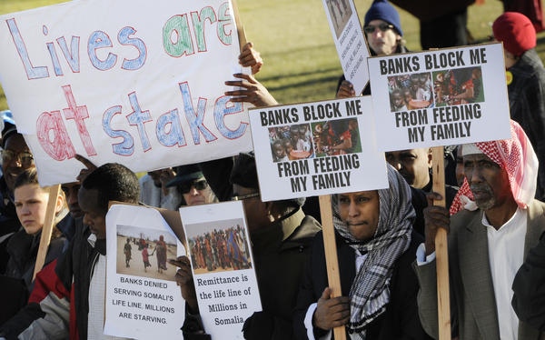 Somali-Americans rally in Minnesota in 2012, after the only bank that supported the money-exchange system called <em>hawala</em> withdrew from those transactions. Other banks eventually stepped in to fill the demand, but one of the last to facilitate the transfers plans to stop doing so at the end of the month.