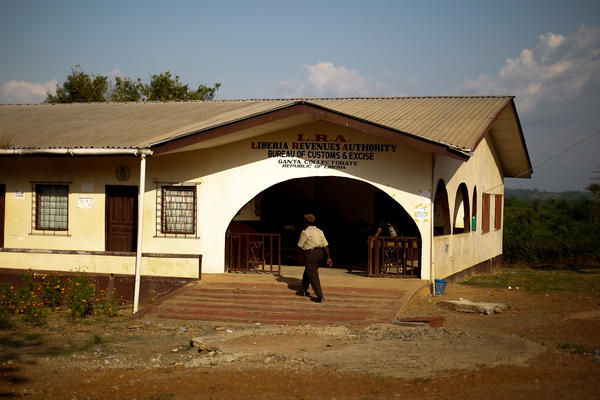 The customs house at the Liberian border.