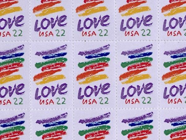"""Kent created her """"love"""" stamp for the U.S. Postal Service in 1985."""