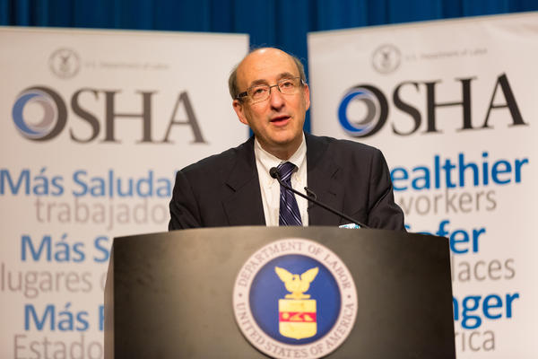 """OSHA's David Michaels — shown here at an event in April 2014 — acknowledges that more needs to be done to prevent nursing injuries, but he says his agency is using """"moral suasion"""" instead of regulations to do it."""
