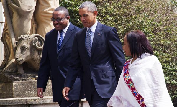 Ethiopian Prime Minister Hailemariam Desalegn (left), walks alongside President Obama during the U.S. president's visit to the African nation last July. Critics say Ethiopia has cracked down hard on the opposition, but makes modest gestures to give the impression it tolerates some dissent.