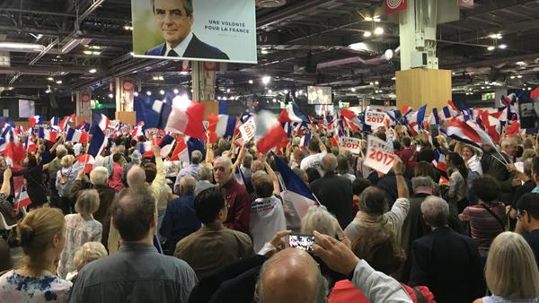 Thousands of supporters of conservative presidential candidate Francois Fillon turned out for a rally in Paris on April 9. Fillon, a practicing Catholic, is the only candidate in the 11-person race who is open about his faith.