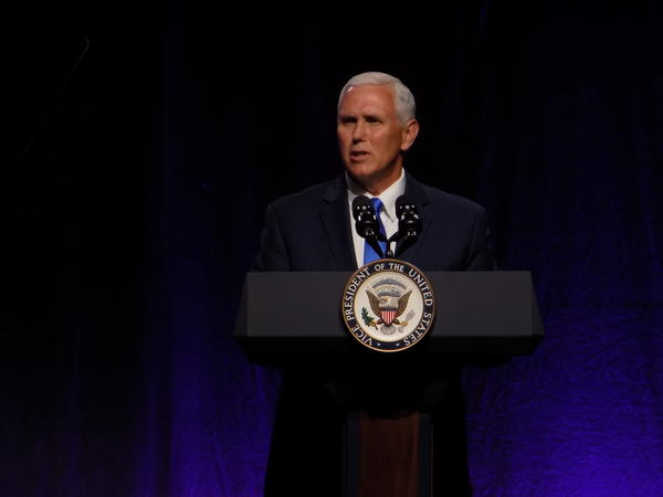 Vice President Mike Pence addresses the National Governors' Association meeting in Providence