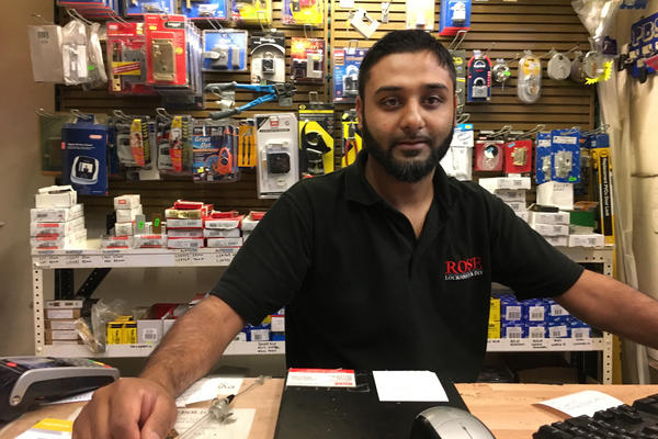 Abdul Shohid owns a hardware store in East London. He says he only sells his products to older customers he already knows.