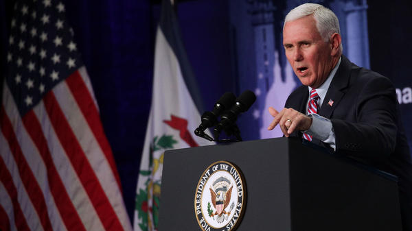 Vice President Pence addresses a dinner earlier this year in White Sulphur Springs, W.V. Pence is heading to South Korea for diplomatic efforts and Olympic events.
