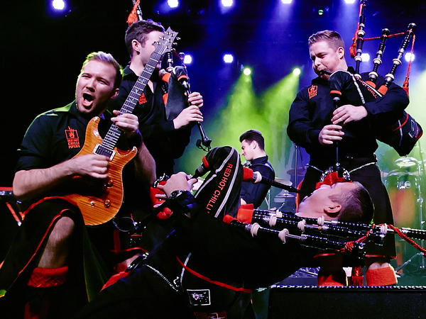 Close, but not quite: Red Hot Chilli Pipers perform live.