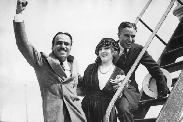 Pickford (center) created United Artists with Douglas Fairbanks (left), Charlie Chaplin (right) and D.W. Griffith (not pictured).