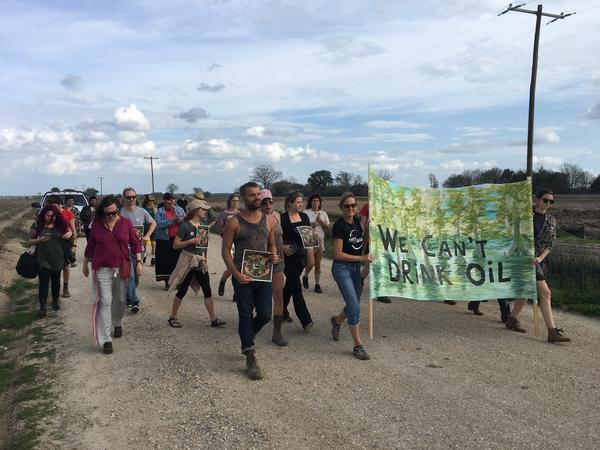 """Keep it in the ground"" activists protesting the Bayou Bridge Pipeline on February 17, 2018 near Belle Rose, Louisiana."