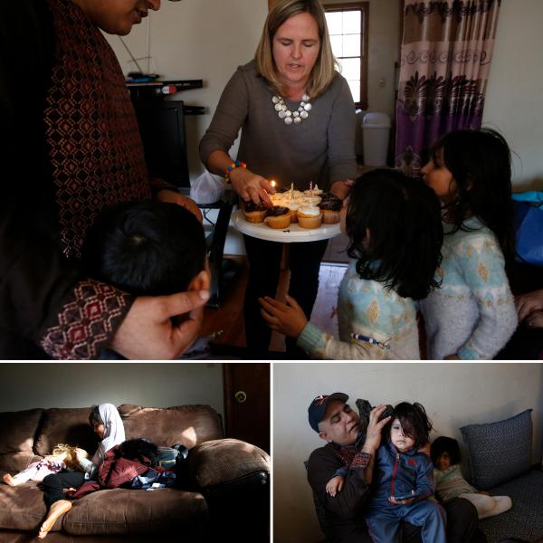 The Nishats and the Meaneys get together every couple of weeks. (Top) Cathy brings cupcakes for Ezatullah's birthday. (Bottom right) Rahim tends to a boo-boo. (Bottom left) Playing with dolls.