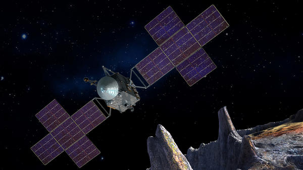 This artist's-concept illustration depicts NASA's Psyche spacecraft which will carry a deep-space laser communications system.