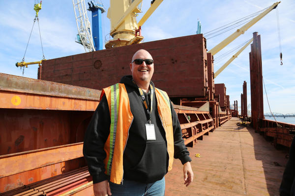 Forklift driver Rick Anderson has worked at the Port of Vancouver for more than two decades. He says most weeks, all he hauls from the port is steel.