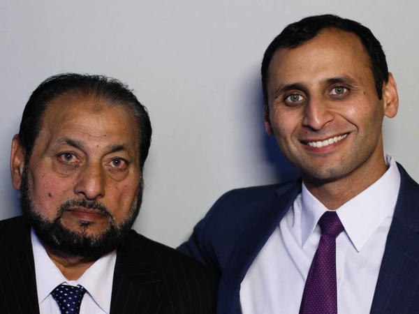 Mohammad Ashraf Faridi (left) with his son, Muhammad Faridi, at a StoryCorps interview in New York City.