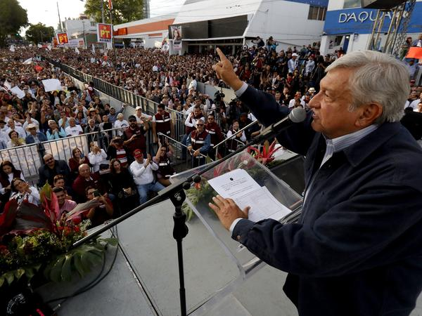 """Presidential candidate and front-runner Andres Manuel Lopez Obrador delivers a speech during a rally in Guadalajara on Feb. 11. On Wednesday, he said of  Cambridge Analytica: """"Now that it's a worldwide scandal, people are finally paying attention."""""""