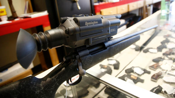 Remington's 2020 line, seen here at a gun shop in Kernersville, N.C., offered a state-of-the art scope that automated range finding and aided in targeting. But the line, which had a hefty price tag and issues with the optic system, didn't sell well.