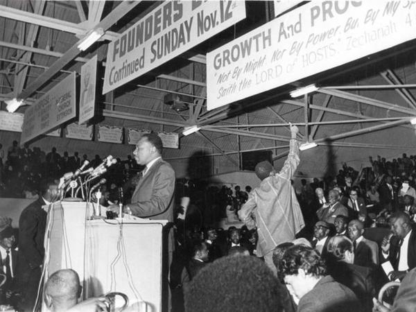 Martin Luther King, Jr. speaking to a mass meeting at the Mason Temple in support of striking sanitation workers.