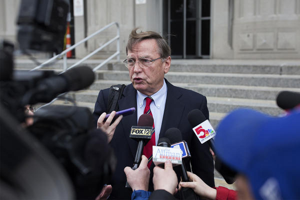 Ed Dowd, defense attorney for Gov. Eric Greitens, speaks to reporters outside the Carnahan Courthouse in downtown St. Louis after a hearing Monday.