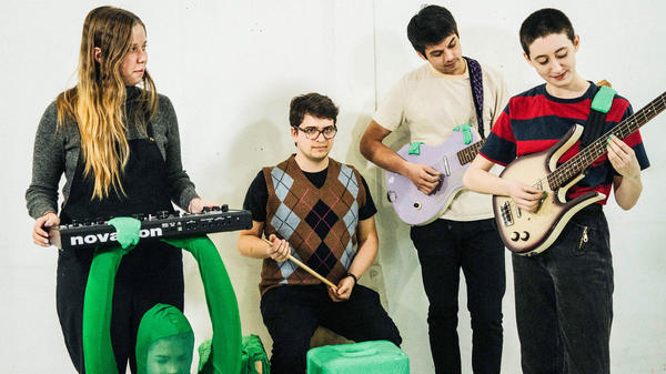 Frankie Cosmos' latest album is <em>Vessel</em>. Left to right: Lauren Martin, Luke Pyenson, Alex Bailey, Greta Kline.