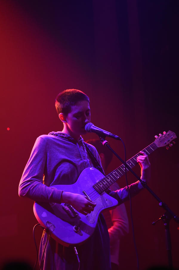 Greta Kline performs with Frankie Cosmos at Webster Hall in New York City in May 2017.