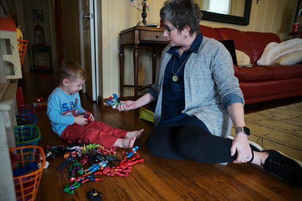 Every Wednesday, Necia Freeman babysits her grandson, 3-year-old Campbell Lusk.