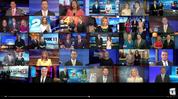 "A video from the sports website Deadspin shows local TV news anchors reciting, in unison, a script from Sinclair Broadcast Group denouncing ""fake stories."""