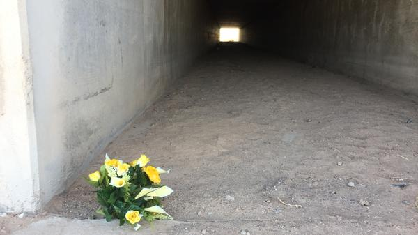 A bouquet of plastic yellow flowers near the spot where Agent Rogelio Martinez was found.