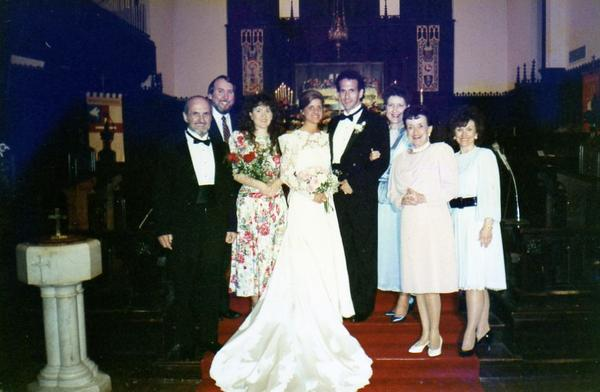 Barfield pictured on his wedding day. His wife Karen is an Episcopal priest.