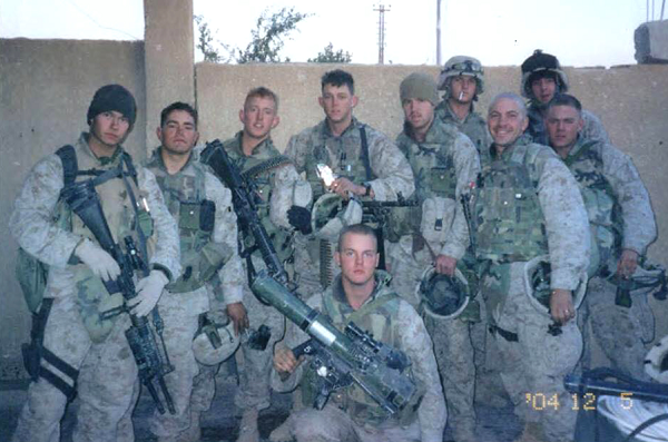 Thomas J Brennan (front, center) on his first deployment in Fallujah, Iraq, in late 2004.