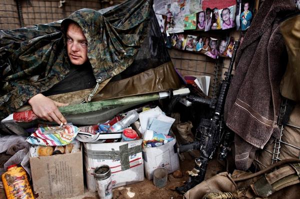 Thomas soaked in his bunk at OP Kunjack in Afghanistan on October 29, 2010.